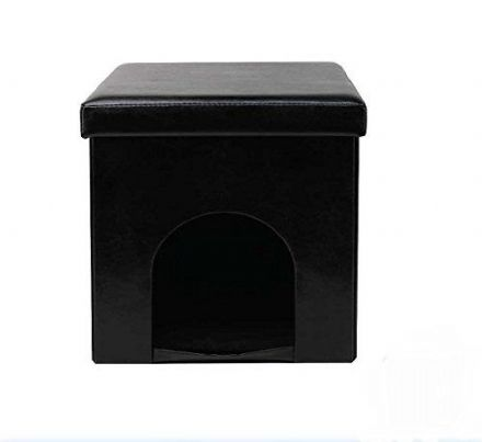 Cat / Dog / Rabbit Pet Bed House Folding Storage Box with Seat ~ Black